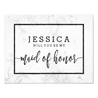 Chic White Marble Will You Be My Maid of Honor Card