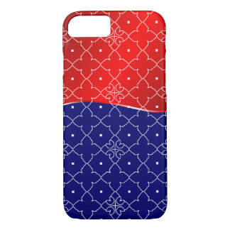Chic White, Red and Blue Quatrefoil pattern iPhone 7 Case