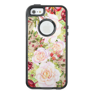 Chic White Roses & Colorful Flowers OtterBox iPhone 5/5s/SE Case