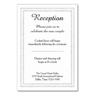 Chic White Silver Glitter Trim - Reception Insert Card
