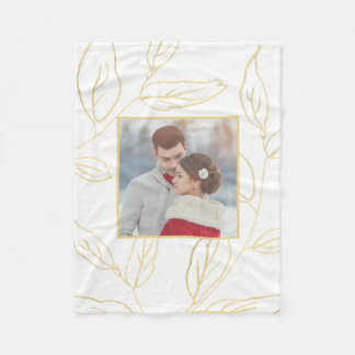 Chic White with Gold Color Botanical Add Photo Fleece Blanket