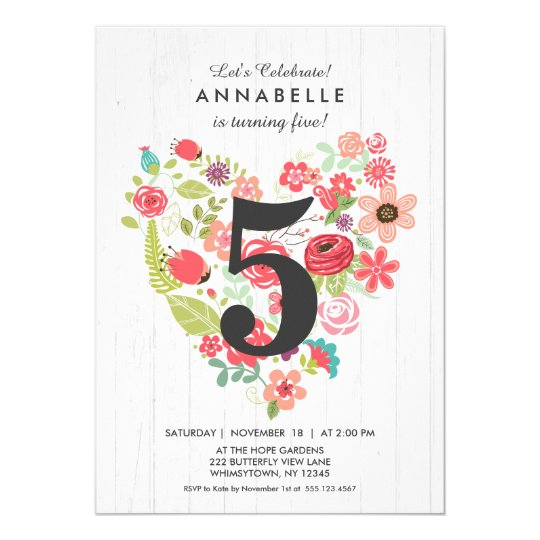 Chic White Wood & Heart Birthday Party Invitations