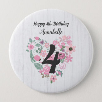 Chic White Wood & Whimsical Floral Happy Birthday 10 Cm Round Badge