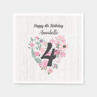 Chic White Wood & Whimsical Floral Happy Birthday Disposable Serviette