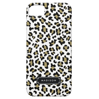 Chic Wild Gold Beige Leopard Print Personalized Barely There iPhone 5 Case