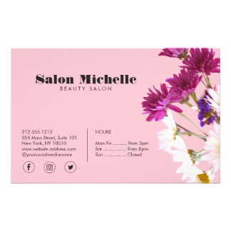Chic Wildflowers and Minimalist Pink Beauty Salon Flyer