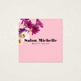 Chic Wildflowers and Minimalist Pink Square Business Card