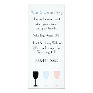 "Chic Wine and Cheese Party Invitation 4"" X 9.25"" Invitation Card"