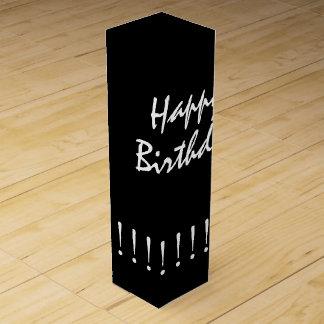 """CHIC WINE GIFT_""""Happy Birthday"""" WHITE ON BLACK Wine Box"""