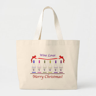 CHIC WINE-LOVERS CHRISTMAS LARGE TOTE BAG