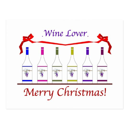 CHIC WINE-LOVERS CHRISTMAS POSTCARD