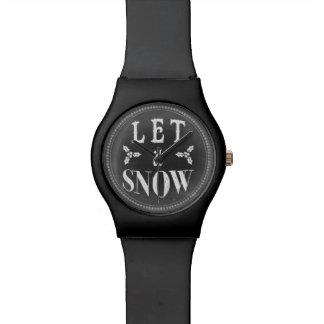 Chic Winter Chalkboard Let it Snow Wrist Watches