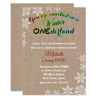 Chic Winter Onederland Girl First Birthday Party Card