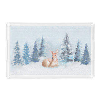 Chic Winter Watercolor Deer in Forest Acrylic Tray