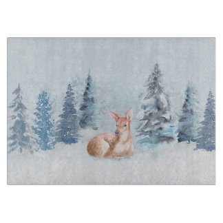 Chic Winter Watercolor Deer in Forest Cutting Board