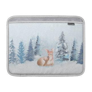 Chic Winter Watercolor Deer in Forest MacBook Sleeve