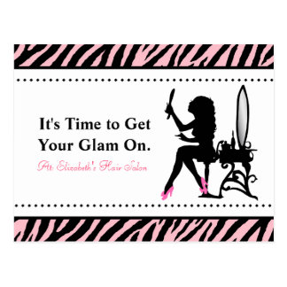 Chic Woman Pink and Black Zebra Hair Appointment Postcard
