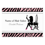 Chic Woman Pink and Black Zebra Hair Salon Pack Of Chubby Business Cards