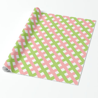 CHIC WRAPPING PAPER_BLUSH PINK/GREEN LATTICE