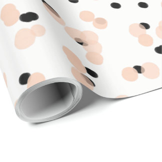 CHIC WRAPPING PAPER_ MODERN PINK /BLACK DOTS WRAPPING PAPER
