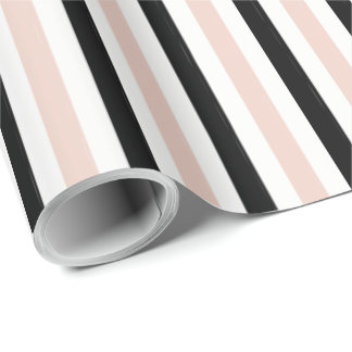 CHIC WRAPPING PAPER_ MODERN PINK /BLACK STRIPES WRAPPING PAPER