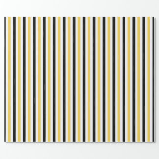 CHIC WRAPPING PAPER_ MODERN YELLOW/BLACK STRIPES