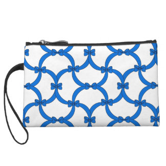 CHIC WRISTLET-PRETTY BLUE BOWS & RIBBONS WRISTLET PURSE