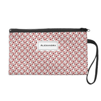 CHIC WRISTLET-PRETTY BLUSH PINK/BLACK/WHITE FLORAL WRISTLET