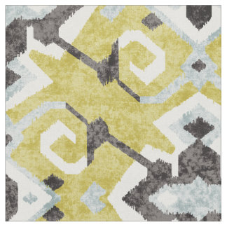 Chic yellow and black ikat tribal pattern fabric