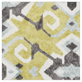 Chic yellow and black ikat tribal pattern fabric