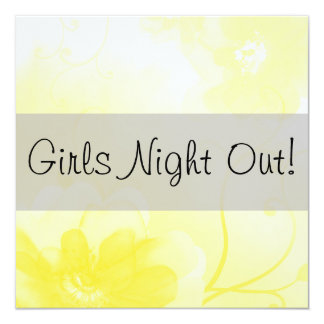 Chic Yellow and Gray Flower Girls Night Out Card