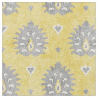 Chic yellow and grey damask ikat tribal pattern