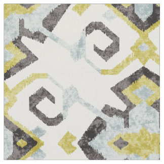 Chic yellow and grey ikat tribal pattern fabric