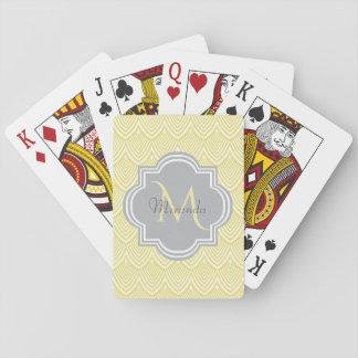 Chic Yellow Art Deco Scallops Gray Monogram Name Playing Cards