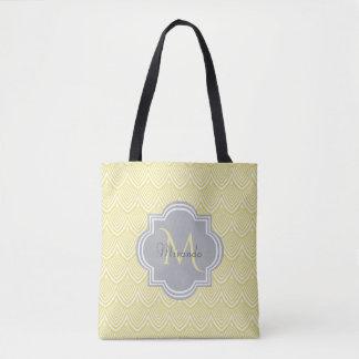 Chic Yellow Art Deco Scallops Gray Monogram Name Tote Bag