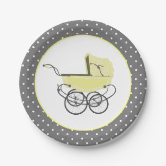 Chic Yellow Baby Buggy Baby Shower Paper Plate