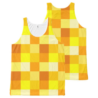 chic yellow check pattern All-Over print tank top