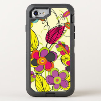 Chic yellow Flower Pattern OtterBox Defender iPhone 7 Case