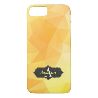 Chic Yellow Geometric Polygon Monogrammed iPhone 7 Case