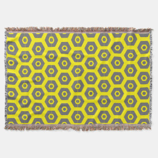 Chic Yellow Gray Geometric 4Erika Throw Blanket