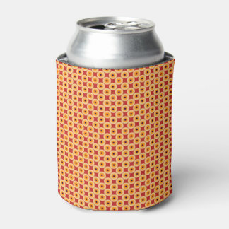 Chic Yellow Red Polka Dot Can Cooler