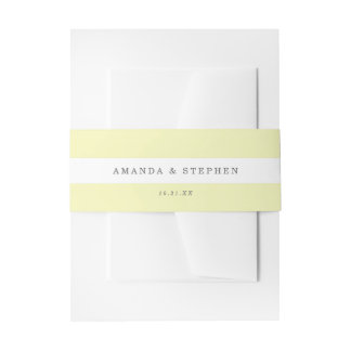 Chic Yellow Stripes Invitation Belly Band