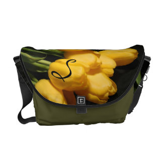 Chic Yellow Tulip Floral Green Messenger Bag