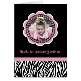 Chic Zebra Birthday Thank You Cards