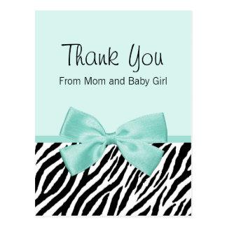 Chic Zebra Fresh Mint Bow Baby Shower Thank You Postcard