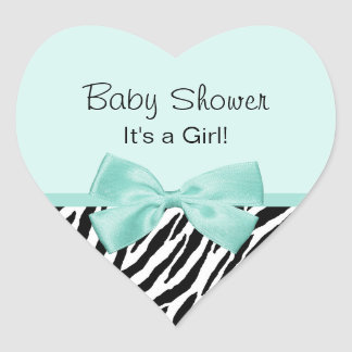 Chic Zebra Mint Ribbon Girly Baby Shower Heart Sticker