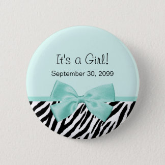 Chic Zebra Mint Ribbon Girly Birth Announcement 6 Cm Round Badge