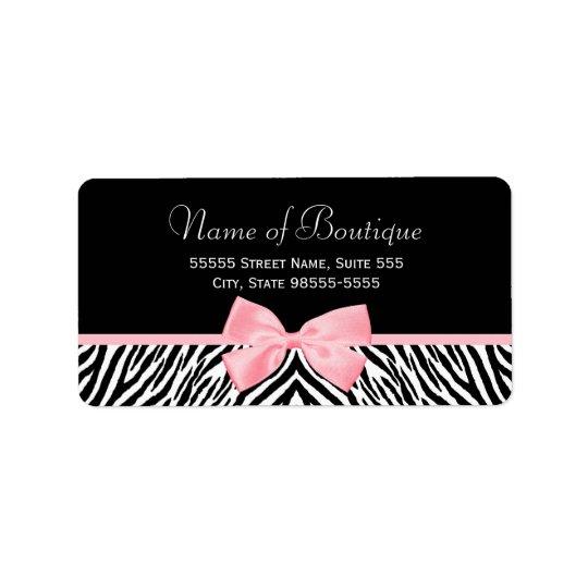 Chic Zebra Print Boutique Light True Pink Ribbon Address Label