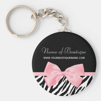 Chic Zebra Print Boutique Light True Pink Ribbon Key Ring