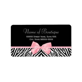 Chic Zebra Print Boutique Light True Pink Ribbon Label